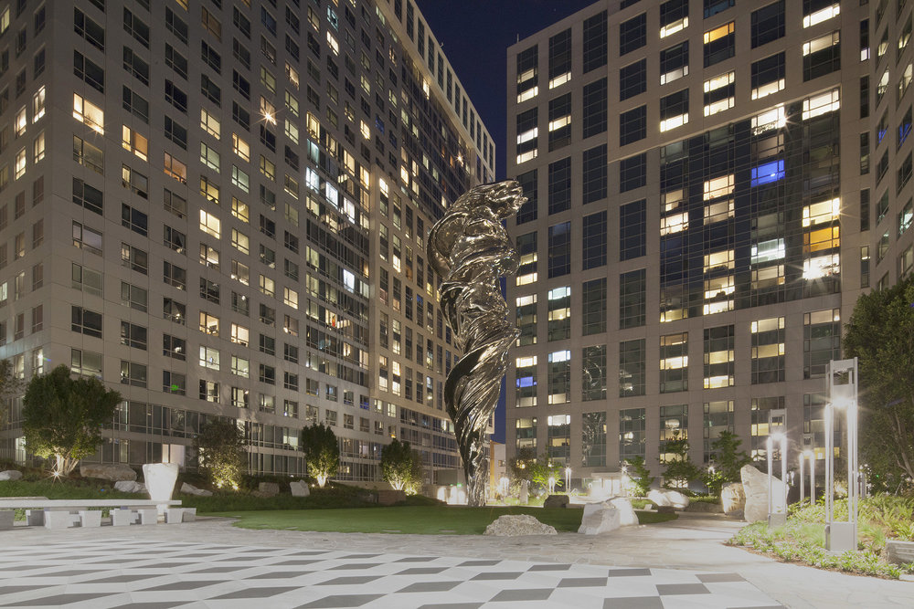 Lawrence Argent,  C'era Una Volta , 2016, stainless steel, Carrara marble, granite, glass, and bronze Integrated into landscape designed by landscape architect The Guzzardo Partnership, architect Arquitectonica, and the artist, 4.5 acres, largest element 92 feet high