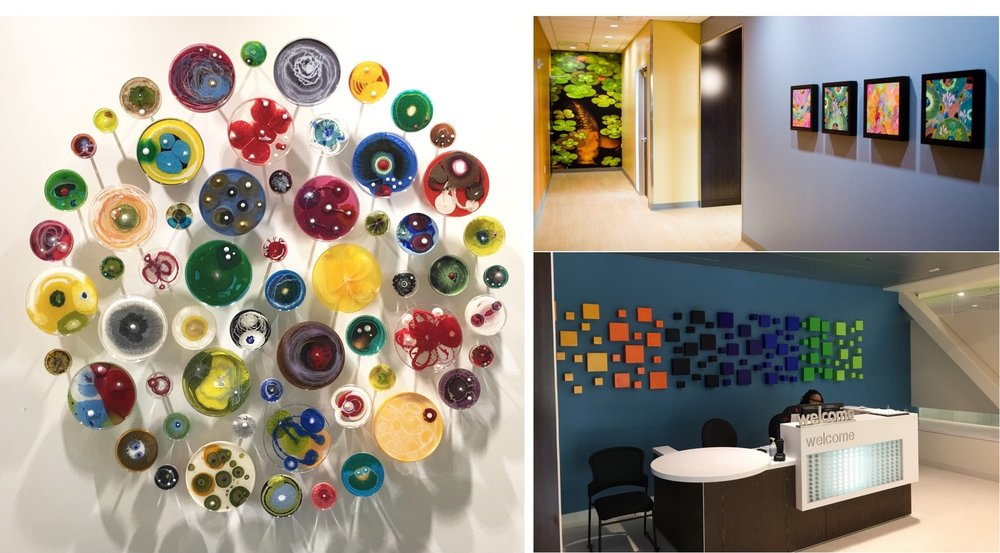 Custom sculpture installations by Klari Reis (left) and Libby Ware (bottom right), koi fish super graphic and paintings by Yellena James (top right)