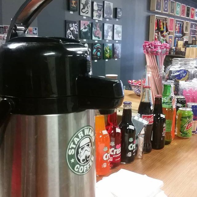 Coffee's ready, come see us South Asheville! #comicsandcoffee #neverenough #goodtothelastdrop #ashevillecomics