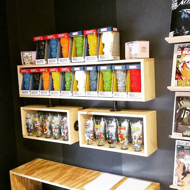 Just added a shelf for glasses and mugs! #grandopeningtomorrow #comeseeus #wereopenrightnow #ashevillecomics
