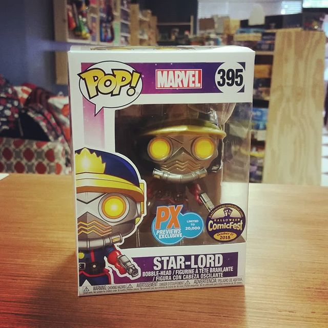 Tomorrow is #HalloweenComicfest, AND our GRAND OPENING! We'll have several of this Comicfest exclusive #funko figure, but get here early if you need one, they'll go quick! #ashevillecomics #starlord #funko pop #previewsexclusive