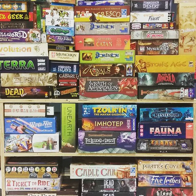 Who likes to drop $50+ on a game, just based on reviews and word of mouth? Well now for $5 you can come by and play as many of ours as you'd like. If find one that's for you and want to buy a copy, we'll put the 5 bucks towards the purchase price! Starting next week come in and grab some snacks and drinks anytime we're open and get your game on.