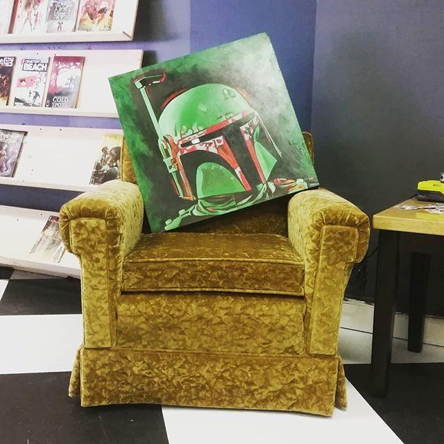 Our first local art, from the amazing @artistxero #localartist #bobafett #bobafettish #ashevilleartist #starwarsart