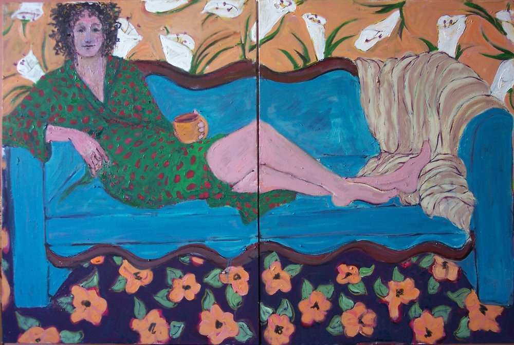 First Cup on Saturday Morning (diptych 72X48 inc both)