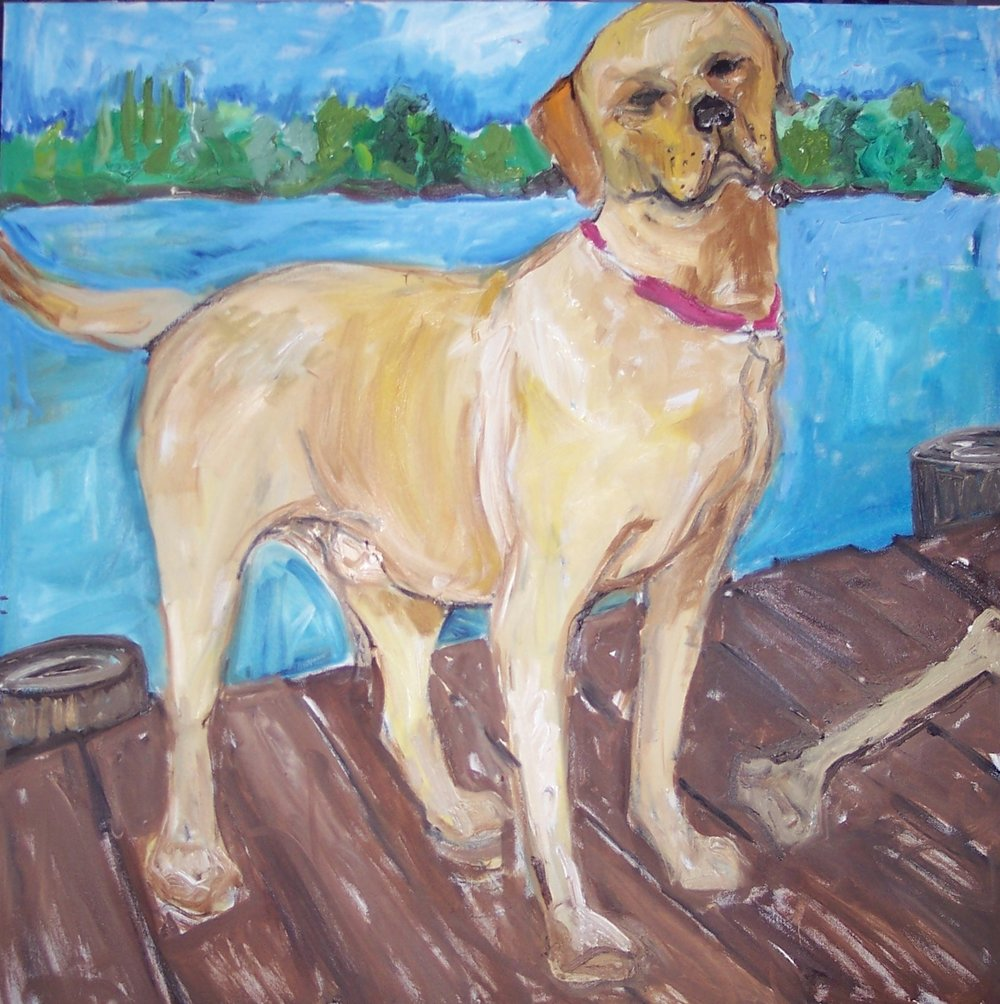 Yellow Lab on Dock (36X36)