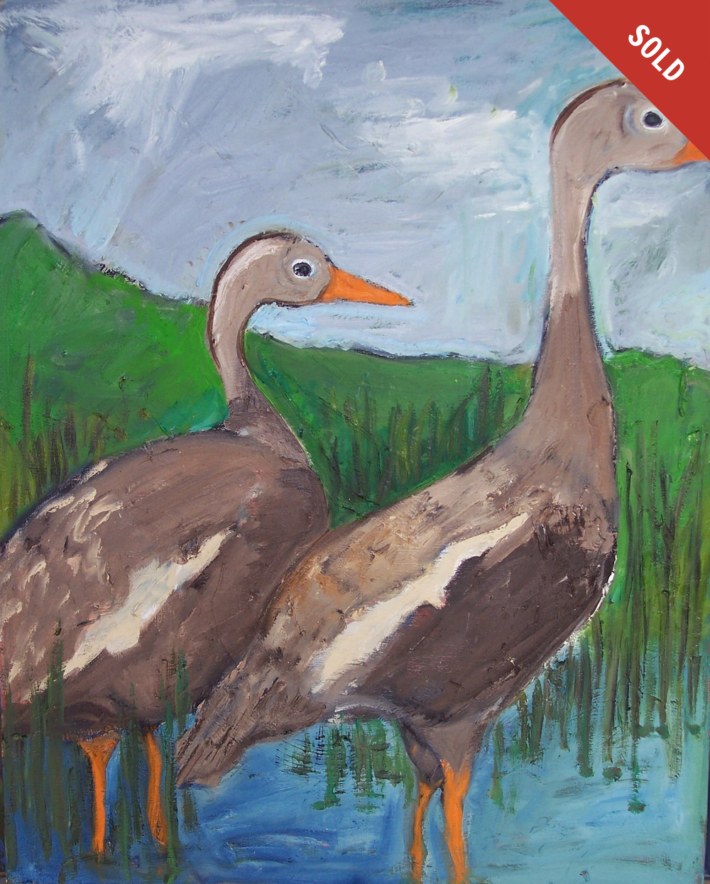 Two Geese in Tall Grass (30 X 24)