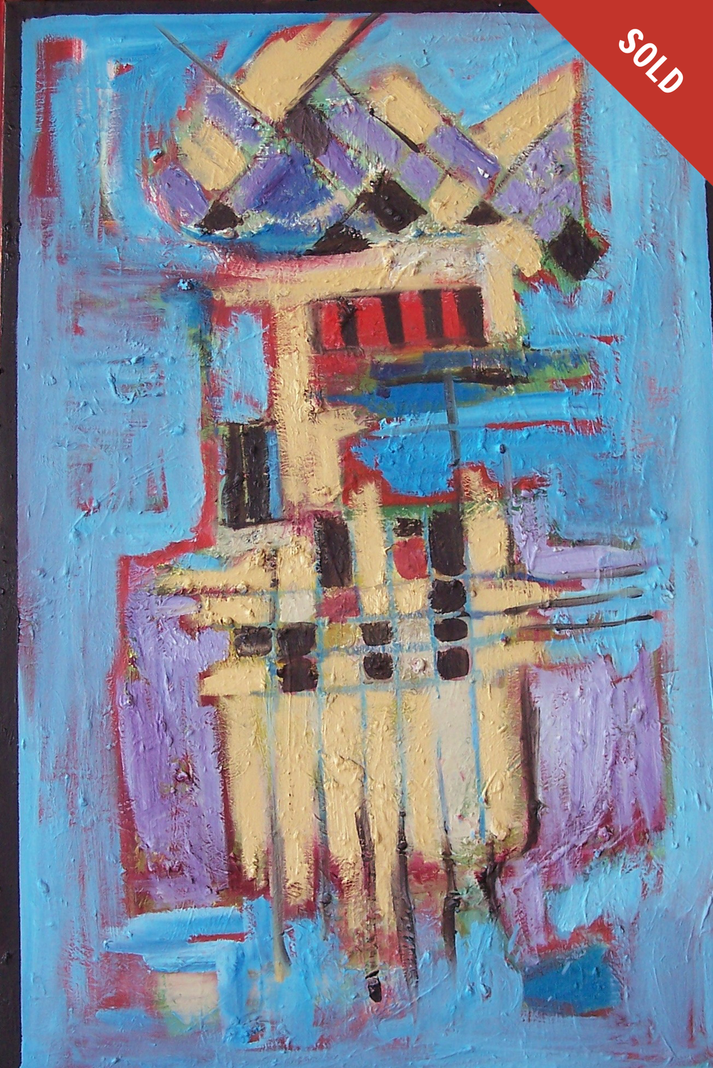 Abstract Blue, Red and Tan (36 X 24)