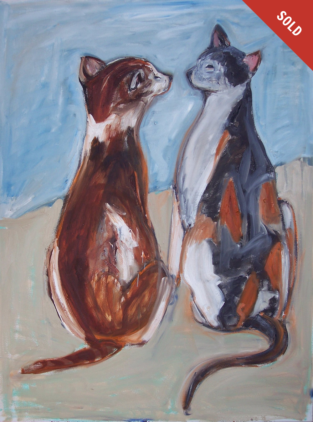 Two Cats Staring (40 X 30)