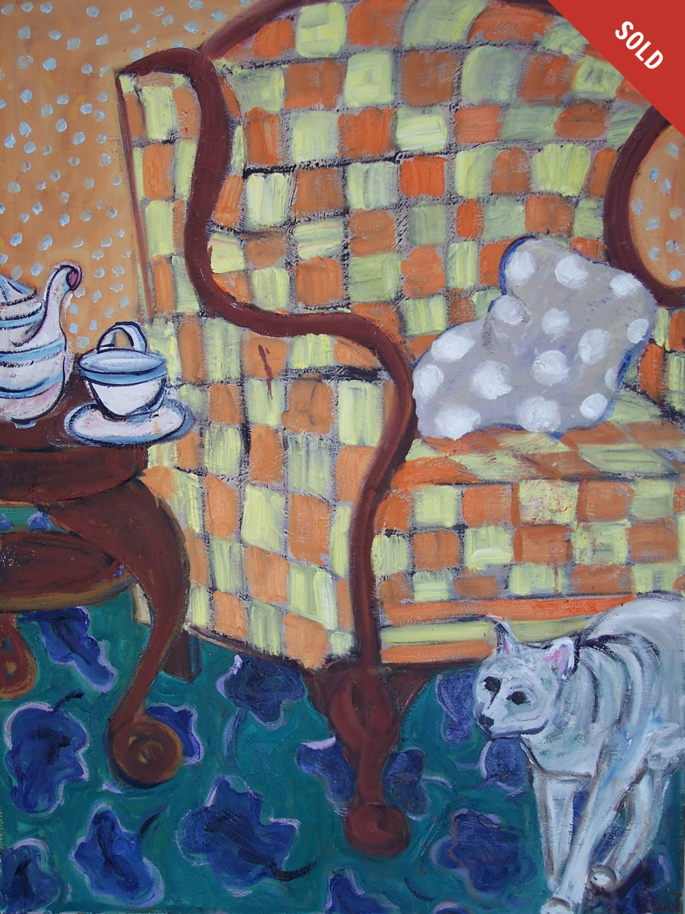 Cat and Checked Chair (30 X 40)