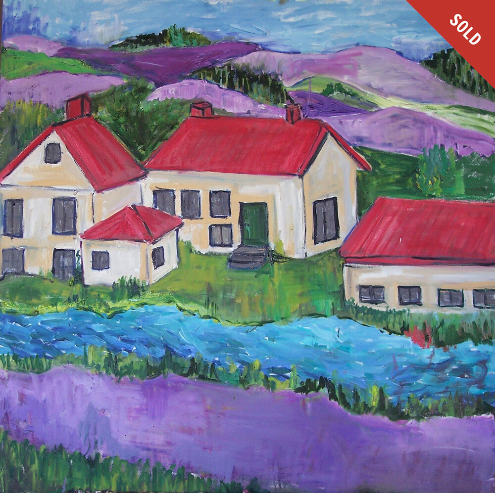 Red Roofs Purple Hills (36 X 36)