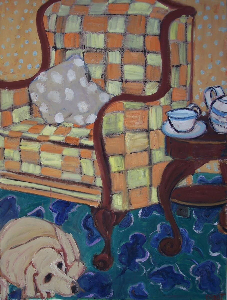 Dog and Checked Chair (30 X 40)