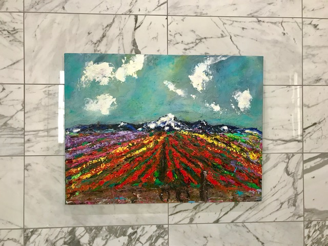 """Skagit Sunday Morning"" (Landscape Series) 24"" x 32"" Acrylic on Jute Linen $800"