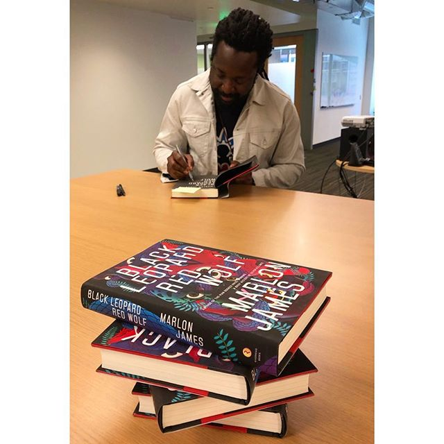 What a treat to spend my work day with Marlon James! I so loved hearing all about his writing process (including the post-it notes all over his walls) and how he is more influenced by what has influenced his favorite authors, rather than the authors themselves. Can't wait to begin reading Marlon's latest book (👆🏼)!