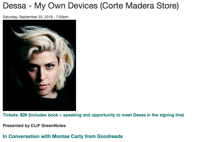 """In her literary debut memoir, rapper and singer  Dessa  gives a candid account of her life in the van as a hard-touring musician, her determination to beat long odds to make a name for herself, and her struggle to fall out of love with someone in her band. Raw and intimate, Dessa demonstrates just how far the mind can travel while the body is on the six-hour ride to the next rap show.  Dessa defies category -- she is an academic with an international rap career; a lyrical writer fascinated by behavioral science; and a funny, charismatic performer dogged by blue moods and a perseverant case of heartache. In """"The Fool That Bets Against Me,"""" Dessa wonders if the romantic anguish that's helped her write so many sad songs might be an insurable professional asset. To find out, she applies to Geico for coverage. """"A Ringing in the Ears"""" tells the story of her father building an airplane in their backyard garage--a task that took him almost seven years. The essay titled """"Congratulations"""" reflects on recording a song for The Hamilton Mixtape in a Minneapolis basement, straining for a high note and hoping for a break. The last piece in the collection, """"Call off Your Ghost,"""" relays the fascinating project Dessa undertook with a team of neuroscientists that employed fMRI technology and neurofeedback to try to clinically excise her romantic feelings for an old flame.  Her onstage and backstage stories are offset by her varied fascinations -- she studies sign language, algebra, neuroanatomy -- and  My Own Devices  is a prism of her intellectual life. Her writing is infused with fascinating bits of science and sociology, philosophical insights, and an abiding tenderness for the people she tours with and the people she leaves behind to do it.  Dessa finds unconventional approaches to all of her subjects -- braiding her lived experience with academic research and a poet's tone and timing. In the vein of thinkers who defy categorization, we get the debut of a deft, likable, and unusua"""