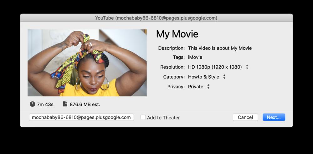 Screenshot of resolution upload to Youtube