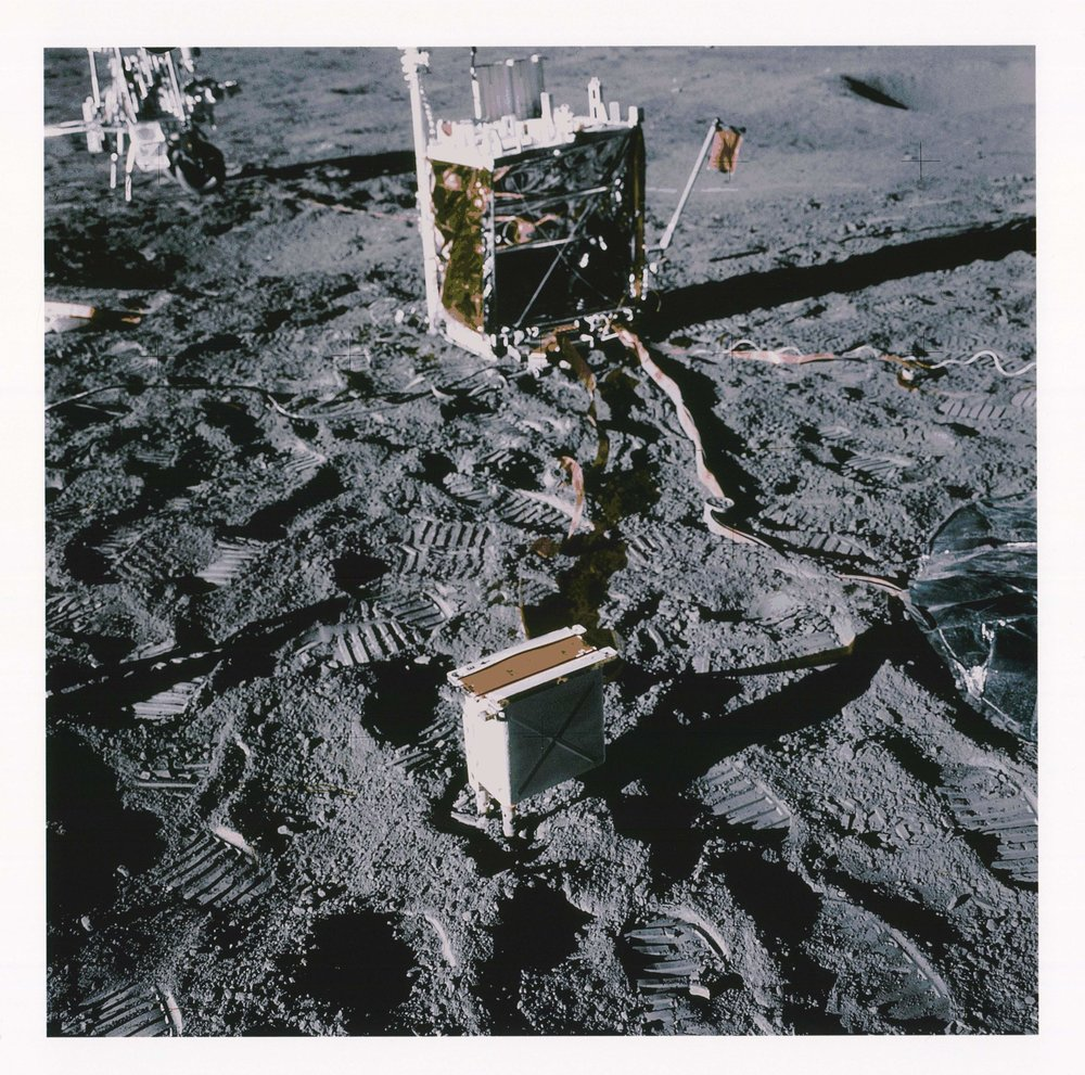Apollo 14 ALSEP shows Brian's CPLEE in foreground and Dust Detector Experiment (DDE) in top-right corner of the Central Processing Unit (CPI) in background. Brian is the only scientist who is Principal Investigator of experiments on the Moon in two different scientific disciplines, Radiation and Movements of Dust.