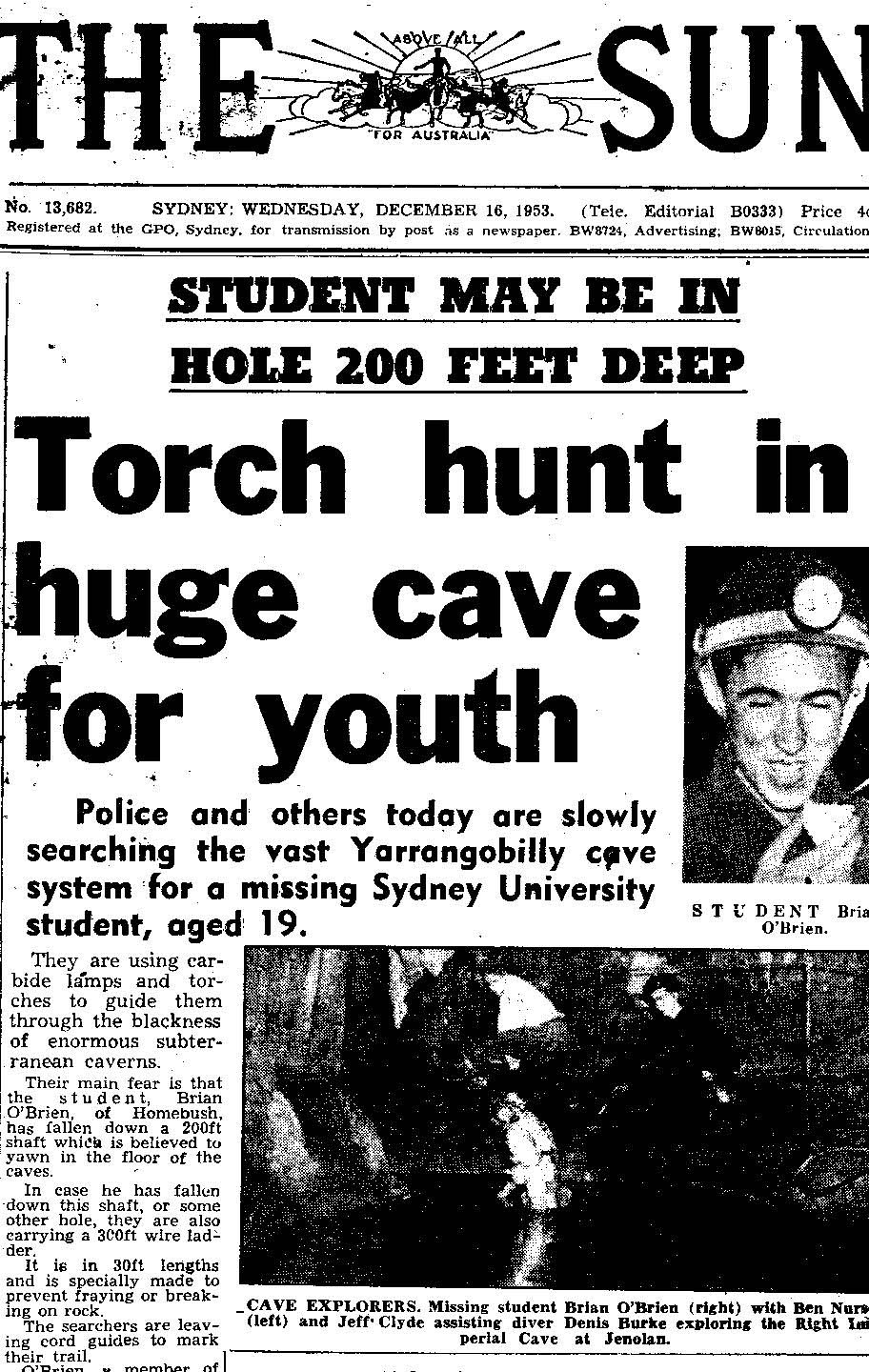 "Article from the December 15th 1953 issue of ""The Sun"" ""Torch Hunt in Huge Cave for Youth""."