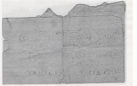 """The note left for Brian from Fred reads: """"Could''t find you, Gone back to Caves House. Take a Sleeping Bag"""""""