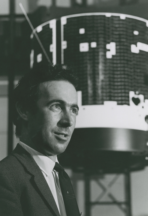 Brian pictured here with one of the Owl satellites. In 1965, Rice became the first university to design and build its own satellites under the NASA Explorer Program.  Owl 1 and 2  were designed to study auroras and Van Allen radiation.