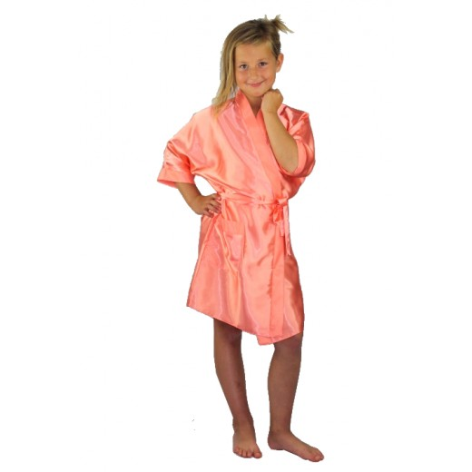 a83976db75 Bridesmaids Flower Girl Satin Dressing Gown Coral