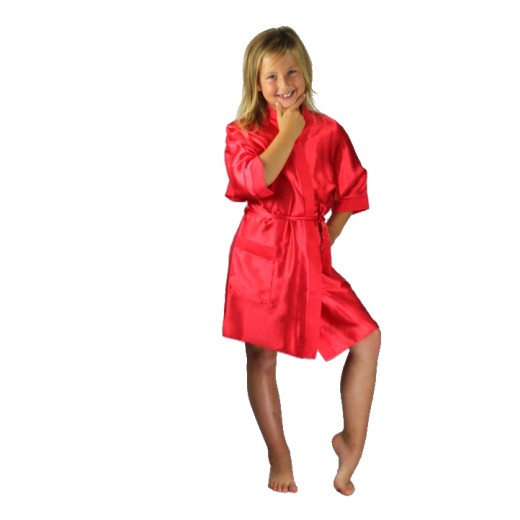 ff62559eb6 Bridesmaids Flower Girl Satin Dressing Gown Red