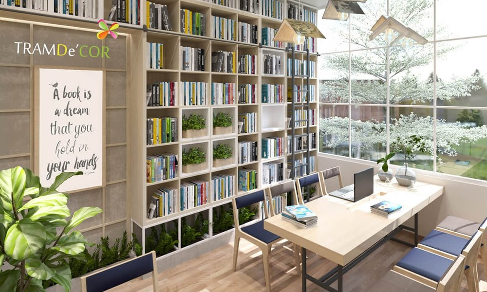 thiết kế nội thất quán cafe sách -