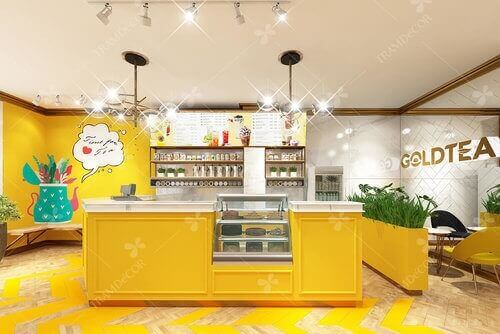 GoldTea - Thiết kế quán trà sữa trẻ trung, hiện đại