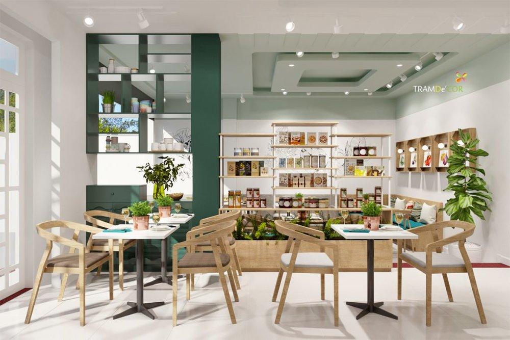 Không gian nội thất nhà hàng chay tạo cảm giác thanh tịnh.