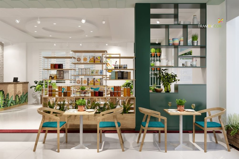 Trang trí nội thất nhà hàng chay khu vực trong nhà mang đến sự ấm cúng.