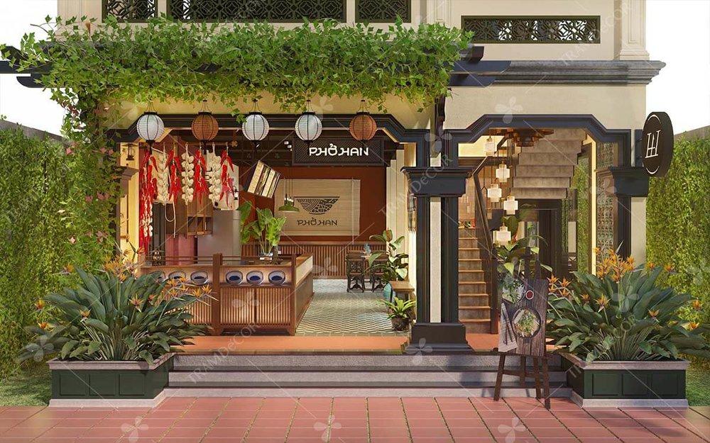 nhà hàng phở han - Thời Gian: 11/2018Địa Điểm: Hội AnPhong cách: thiết kế nội thất nhà hàng món Việt phong cách phố cổ Hội An