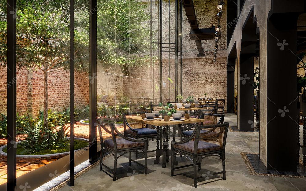Nhà Hàng Chay Thức Tỉnh - Thời Gian: 05/2018Địa Điểm: ConceptPhong cách: thiết kế nội thất nhà hàng chay phong cách công nghiệp