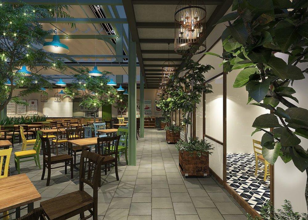 Cây xanh có mặt khắp các khu vực trong nhà hàng, như đúng tên gọi Ếch Xanh Garden