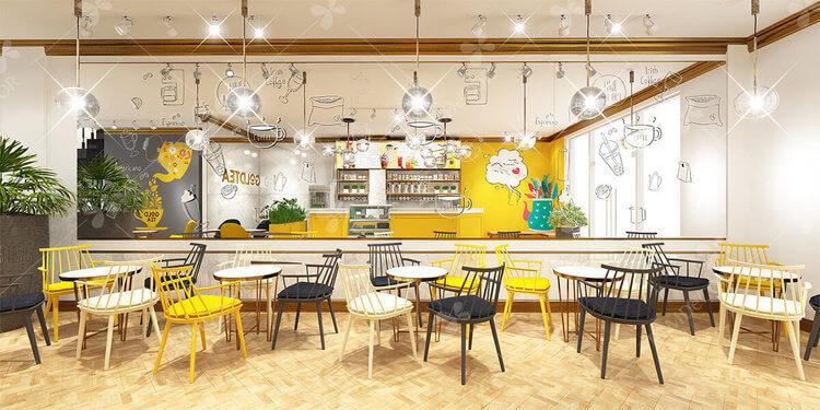 Thiết kế trang trí quán trà sữa