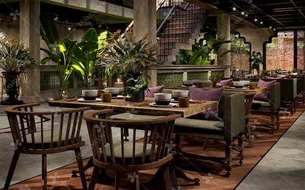 thiết kế nhà hàng chay - Tramdecor luôn hướng đến sự sang trọng nhưng vẫn tạo được không gian yên bình, mộc mạc giản dị và đậm dấu ấn thiên nhiên trong thiết kế nhà hàng chay.
