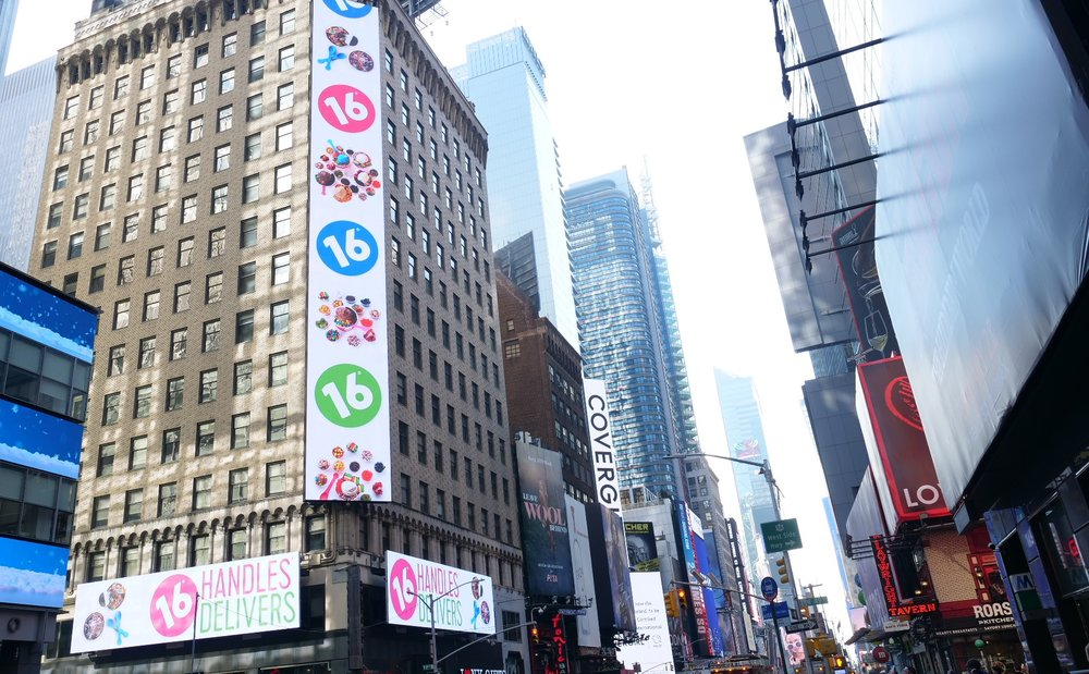 Times Square Billboard - An animated billboard created as part of our 16 Handles Delivers campaign.