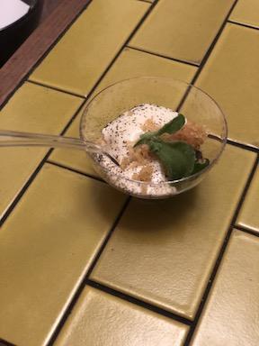 Scallop with potato, burnt allium, and ficoide glacial from Otium