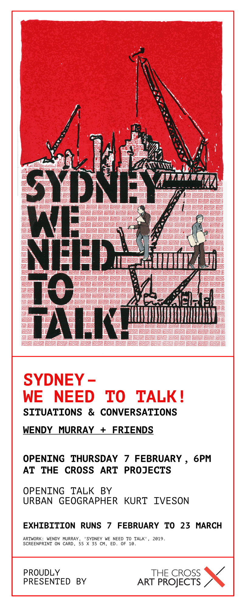 Sydney - We Need to Talk - There are still a few days left to catch Wendy Murray's exhibition Sydney - We Need to Talk at Cross Art Projects in Sydney. The exhibition features some of the illustrations that Wendy made for the book.Kurt Iveson, one of the authors of Sydney - We Need to Talk, spoke at the launch of the exhibition. Taking inspiration from one of Wendy's works, he wrote a letter to Sydney. Here it is…