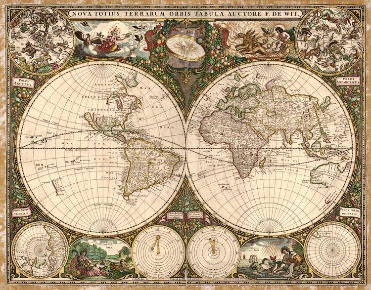 Vintage World Map Wall Art Print 4 — Vintage Press Co.