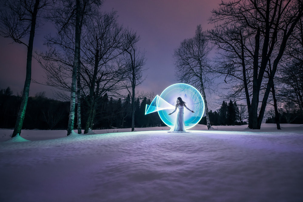 light-painting in the snow with Kim Henry using the Pearl tube (+ Nitecore MT22C flashlight)