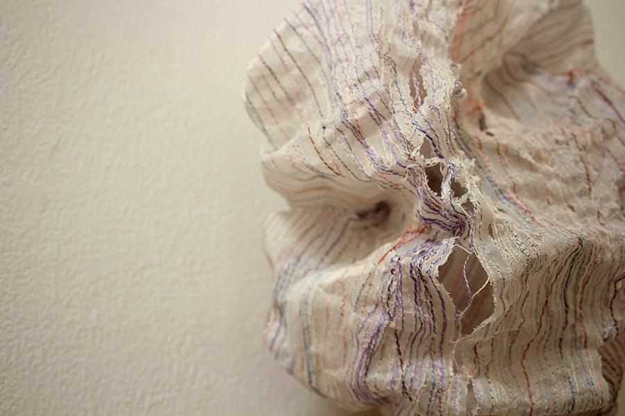 """Detail. Cleanse 9""""W x 13""""H x 6""""D. Paper, Thread. (2013)"""