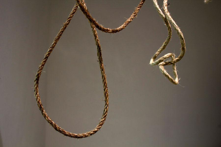 """Livery Collar. 108""""W x 84""""H x 6""""D. Hemp & Jute Rope. (2014)"""