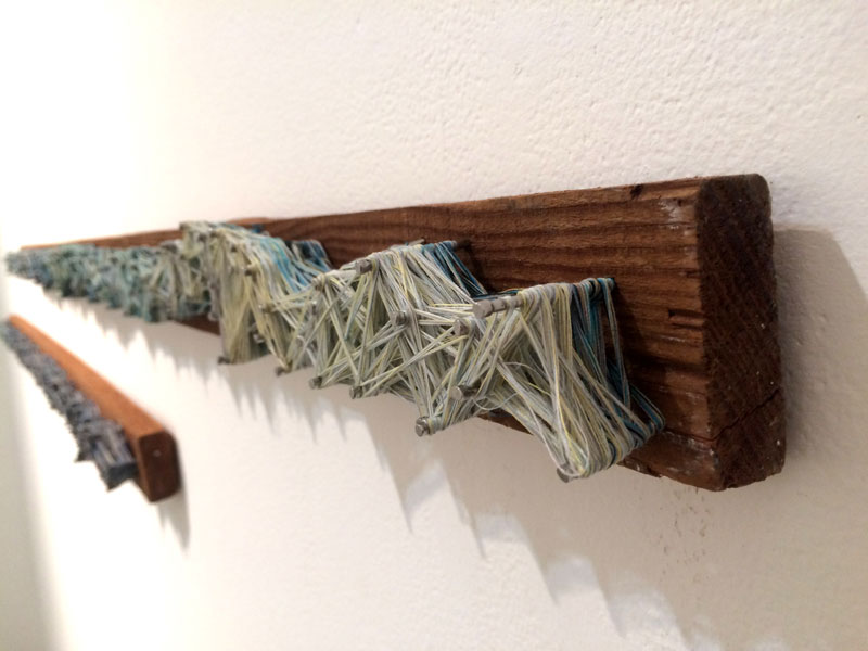 "Mislaid Restraint. 52""W x 2.5""H x 1.5""D Antique Bed Boards, Nails, Thread. (2014)"