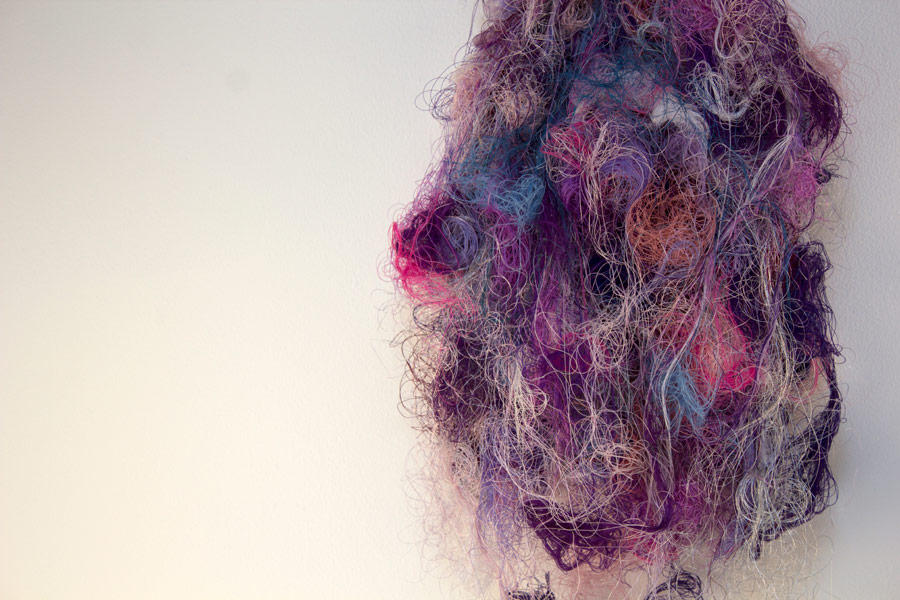 """Luna. 12"""" x 10"""" x 4"""". Natural & Synthetic Threads. (2014)"""