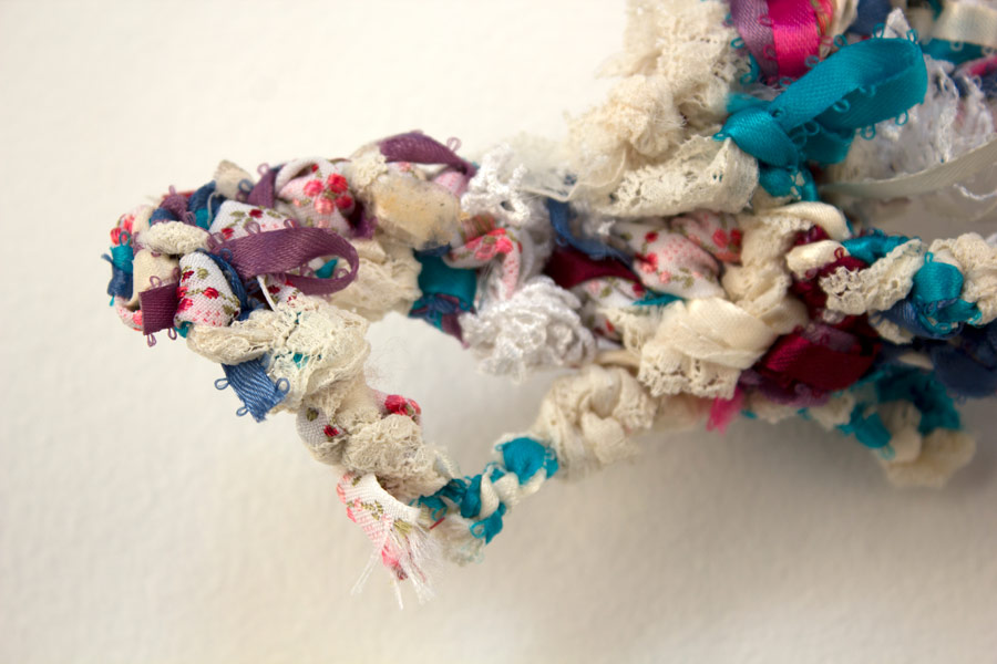 "Anastasia. 6"" x 3"" x 2"". Ribbon, Lace, Elastic. (2014)"