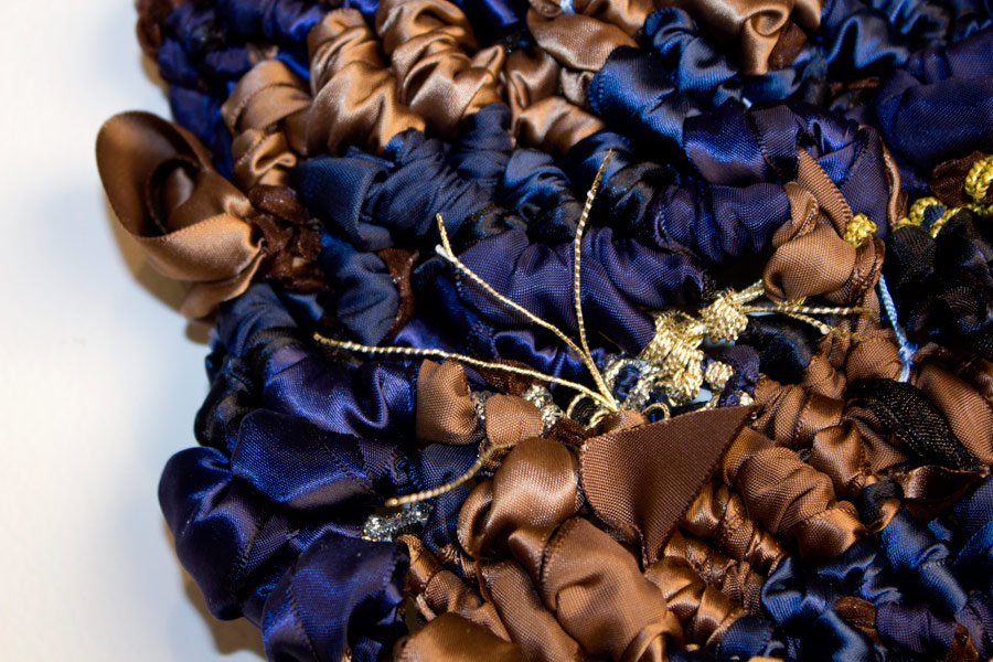 "Los Feliz. 108""H x 24""W x 2""D. Ribbon, String, Elastic, Shoelaces. (2014)"