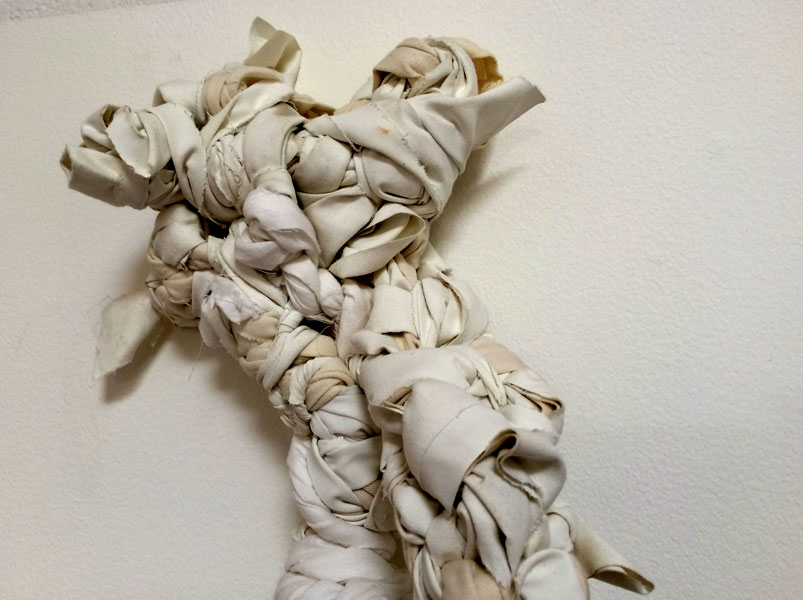 "Regina Nervosa. 6""W x 22""H x 6""D. Rags, Textile Scraps, Nylon Netting. (2014)"