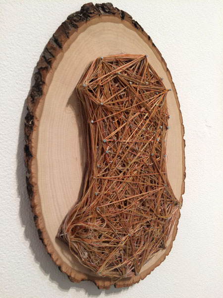 "Obligatory Kin. 72""W x 18""H. Log Slices, Nails, Thread. (2014)"