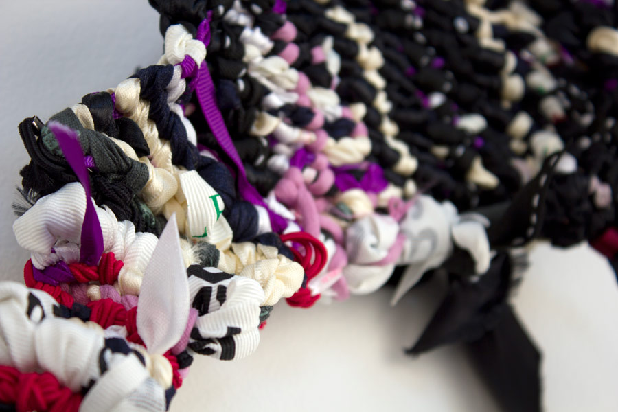 "Claremont. 6"" x 21"" x 2"". Ribbon, String, Elastic, Shoelaces. (2014)"
