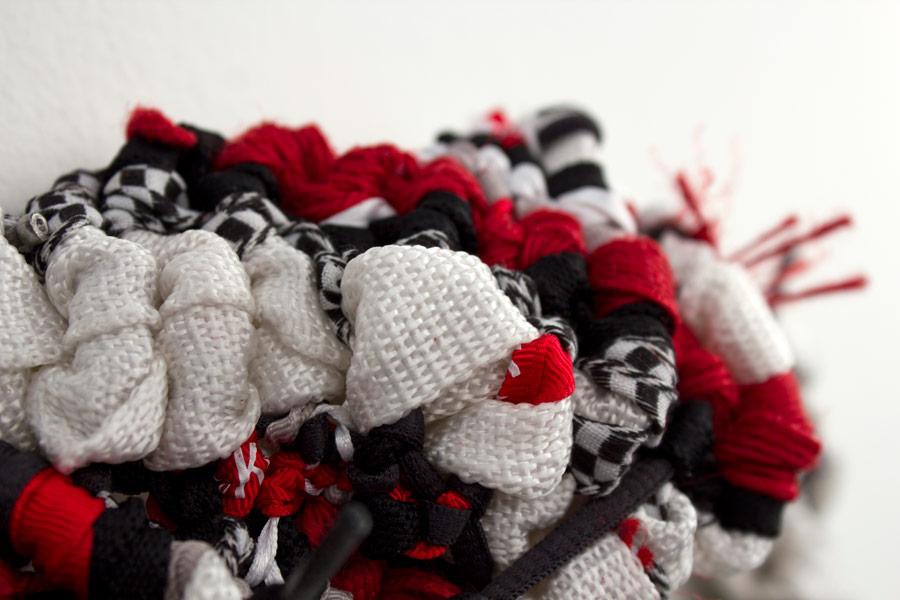 """West Covina. 7"""" x 4"""" x 2"""". Ribbon, String, Elastic, Shoelaces. (2014)"""