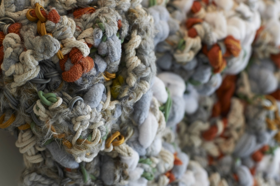 """Detail. Cumulus. 48""""W x 30""""H x 9""""D. Wire, Sash Cord, Cotton Clothes Line, Wool Yarns, Fleece, and Linen (2015)"""